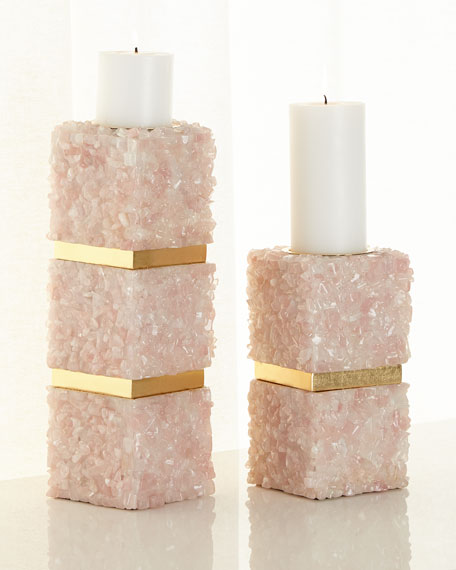 Pink Quartz Small Candleholder