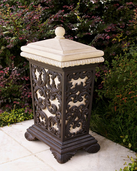 Leaf Scroll Trash Receptacle