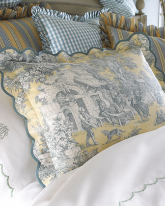 Scalloped Toile Breakfast Pillow, 12