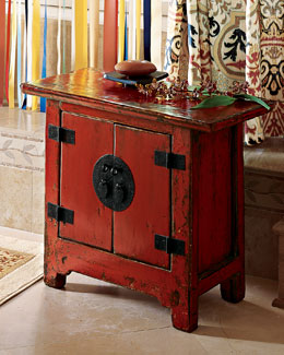 The Red Cabinet Antique Side Cabinet