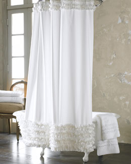 Ann Gish White Ruffled Shower Curtain