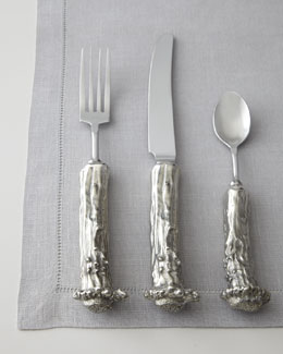 "Five-Piece ""Stag"" Pewter Flatware Place Setting"