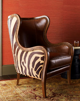 "Massoud ""Chocolate Zebra"" Wing Chair"
