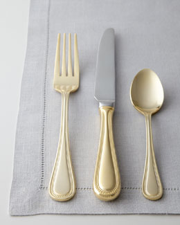 "65-Piece ""Euro Beads"" Gold-Plated Flatware"