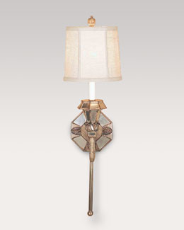 Mirrored Sconce with Linen Shade