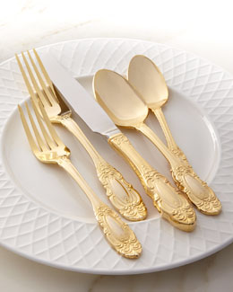 "Wallace Silversmiths 65-Piece Gold-Plated ""Grand Duchess"" Flatware Service"