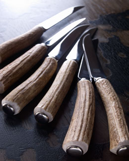 Vagabond House Six-Piece Stag Horn Steak Knife Set