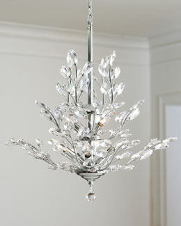 Upside-Down Nine-Light Silver-Leaf Chandelier
