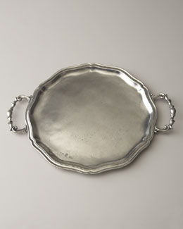 Handled Pewter Charger Plate