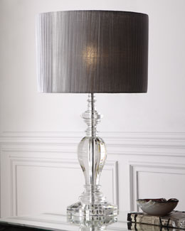 Pleated Shade Crystal Lamp
