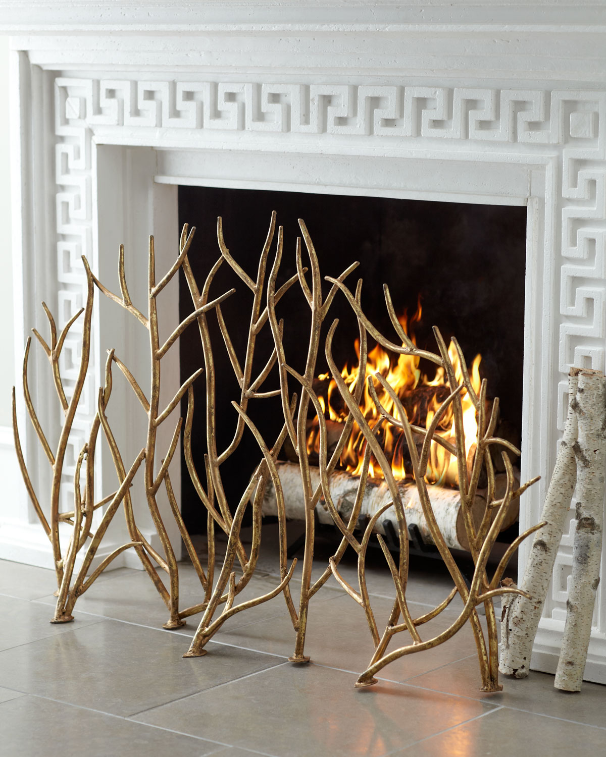 Golden Branch Fireplace Screen, Gold