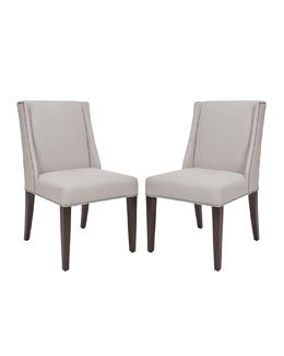 "Two ""Lauren"" Linen Side Chairs"