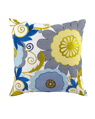 Pillow with Blue, White, and Yellow Floral Embroidery, 20