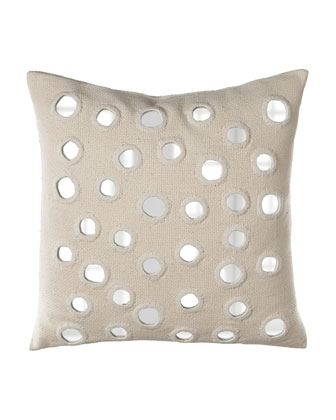 Ivory Silk Pillow with Mirrors, 20