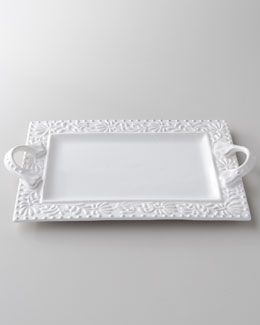 """Bianca Leaf"" Rectangular Handled Platter"