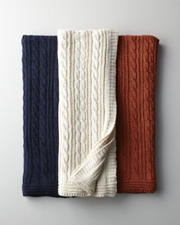 Cable-Knit Cotton Throw