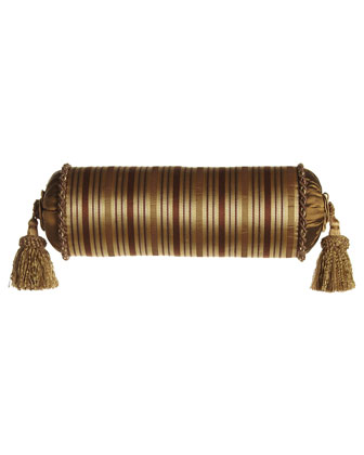 Striped Neckroll Pillow with Tassels, 19