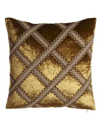Velvet Pillow with Gimp Trellis, 18