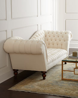 "Old Hickory Tannery ""Ellsworth"" Neutral Recamier Sofa"