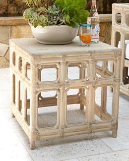 Faux-Bamboo Side Table