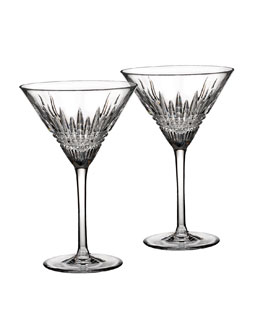 "Waterford Two ""Lismore Diamond"" Martini Glasses"