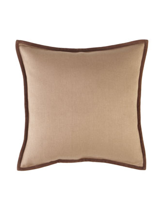 Basketweave Pillow with Suede Piping, 18