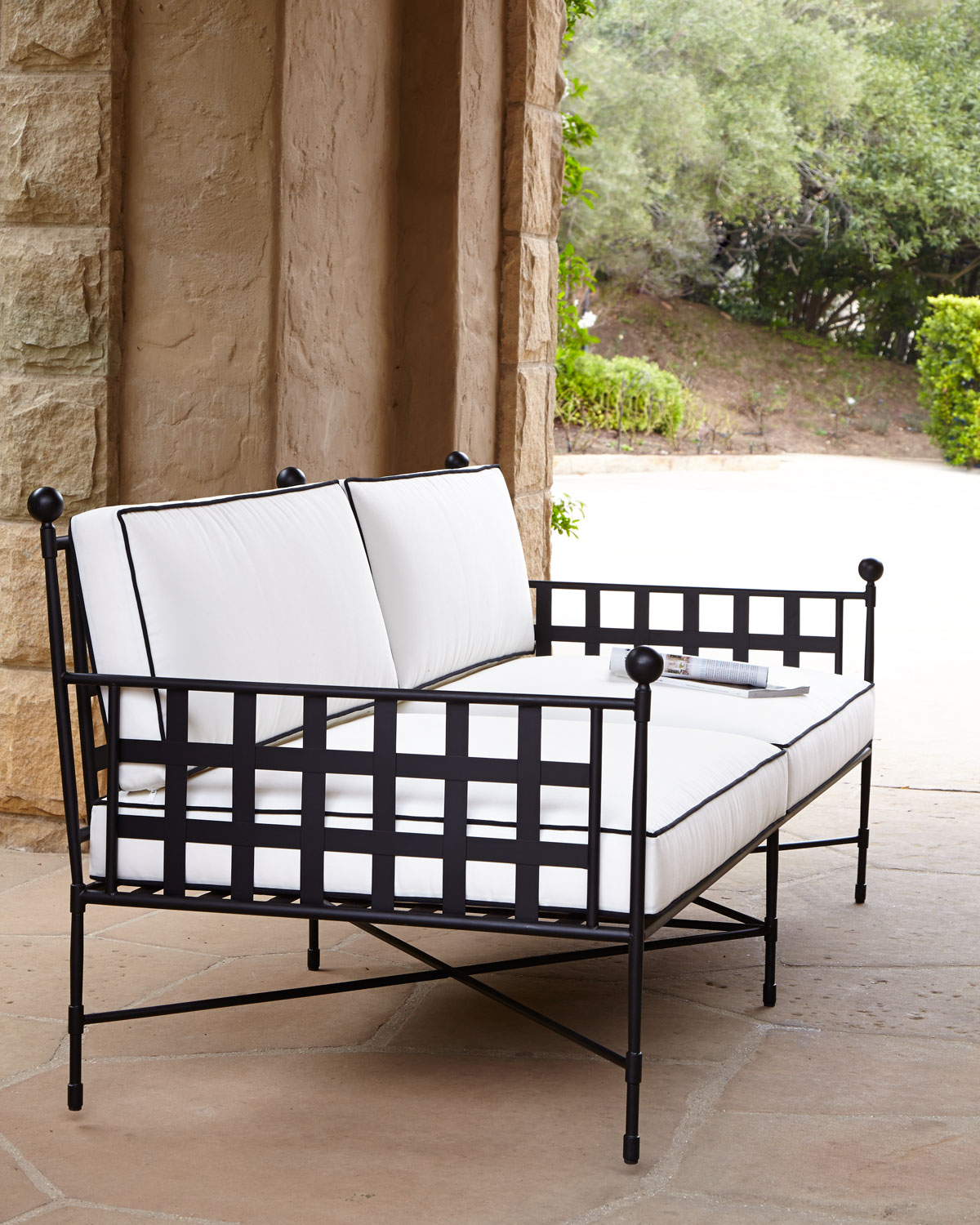 Avery Neoclassical Outdoor Sofa, White/Black