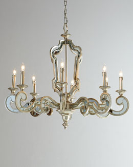 Architectural Eight-Light Mirrored Chandelier