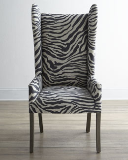 """Kayla"" Zebra-Print Wingback Chair"