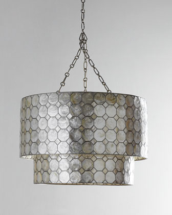Smoked Capiz Two-Tier Chandelier