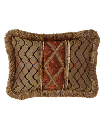 Lattice Pillow w/ Hand-Appliqued Silk Center & Brush Fringe, 14