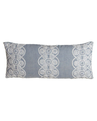 Blue Double Boudoir Pillow with French Knot Detail, 15