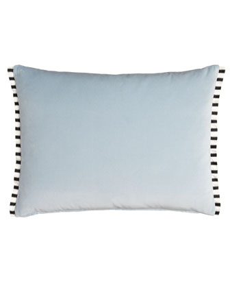 Velvet Pillow with Striped Silk Trim, 24