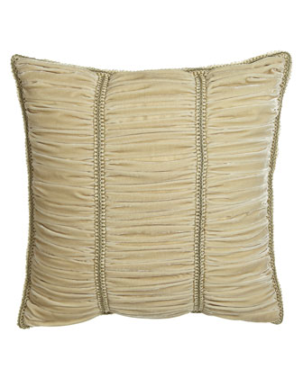 Ruched Velvet European Sham with Gimp Trim