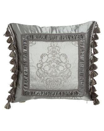 Silk-Framed Pillow w/ Side Tassels, 20