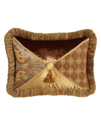 Fringed Patch Pillow with Tasseled Button Center, 14
