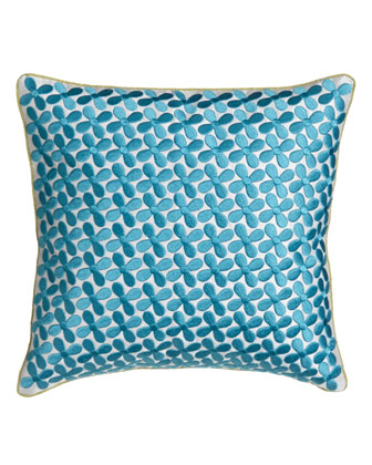 Pillow w/ Blue Embroidery, 12