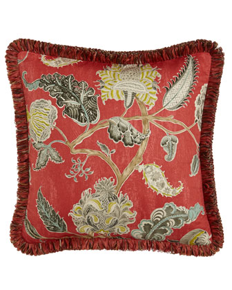 Jacobean Pillow w/ Ribbon Fringe, 20