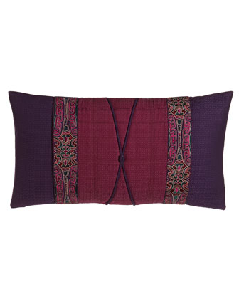 Oblong Pillow w/ Pleated Obi Wrap Detail, 12