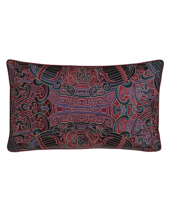 Oblong Embroidered Pillow, 12