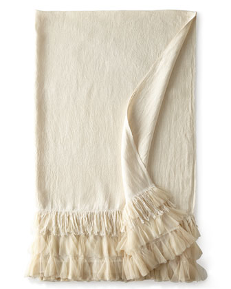 Ivory Linen Chichi Throw, 50
