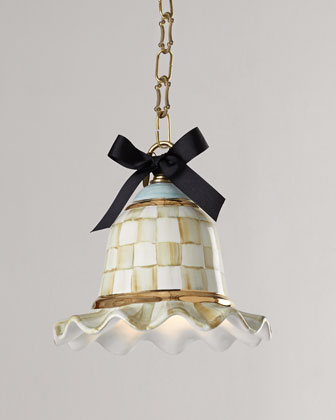 Small Parchment Check Pendant Lamp