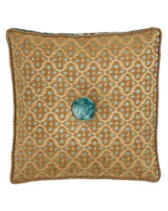Corded Box Pillow w/ Velvet Gusset & Button, 18