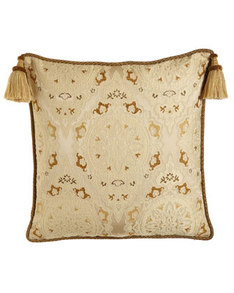 Medallion Lace European Sham w/ Two Large Corner Tassels