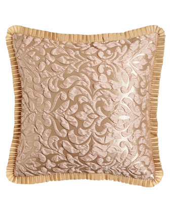 Puckered Damask Pillow w/ Pleated Trim, 20