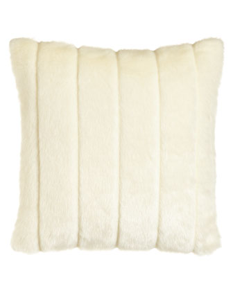 White Faux-Fur Pillow, 17