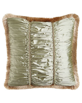 Ruched Silk Pillow with Beads, Gimp, & Fringe, 22