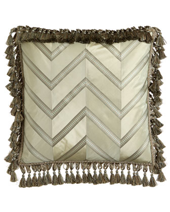 Silk Chevron Pillow with Tassel Fringe, 20