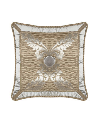 Plisse Pillow with Silk Frame & Velvet Button, 20