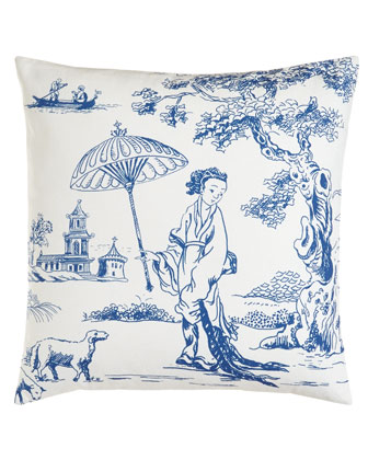 White Pillow w/ Blue Print, 18
